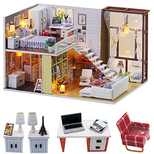 N-A DIY Miniature Dollhouse Kits Wooden Furniture Doll House Sets Modern Style Mini House with Dust Cover and Light for Christmas Birthday Gifts for Kids Girls Friends