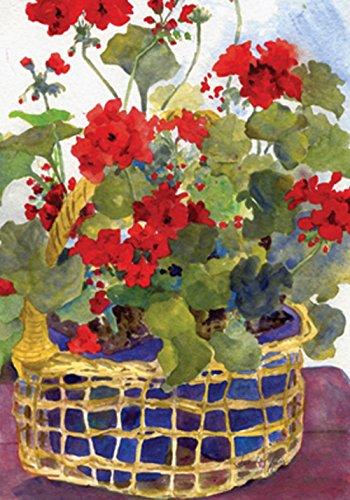 "Toland Home Garden 109136 Geranium Basket 28 x 40 Inch Decorative, House Flag (28"" x 40"")"