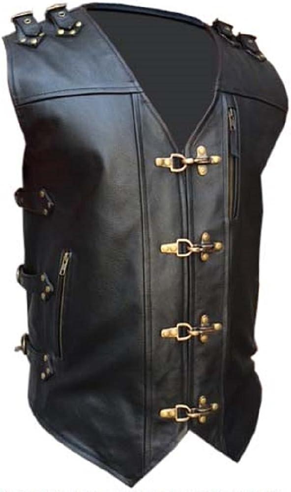 Mens Real Cow Leather Black Heavy Duty Motorcycle Biker Style Vest Waistcoat