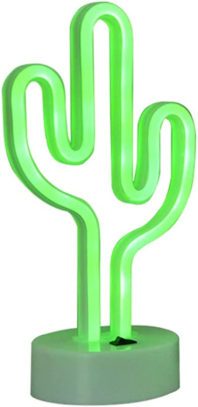 Cactus LED Neon Sign Light Indoor Night Light With Holder Table Lamps USB Cable Battery Home Decor For Bedroom Birtday Party Christmas Kids Gift Cactus Green