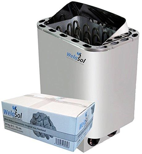 WelaSol Saunaofen Nordex 8kW mit integrierter Steuerung, Außenmantel Edelstahl, inkl Saunasteine