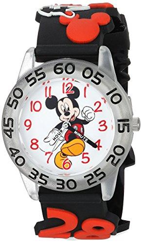 DISNEY Boys Mickey Mouse Analog-Quartz Watch with Plastic Strap, Black, 15 (Model: WDS000512)