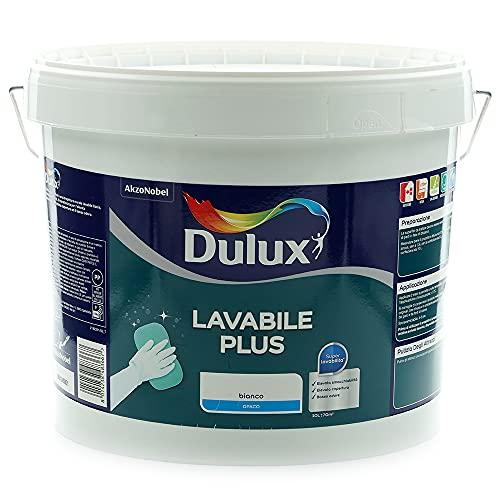 Dulux Lavabile Plus Pittura all'Acqua per Interni Lavabile per Tutti Gli Ambienti, 10 Litri, Bianco