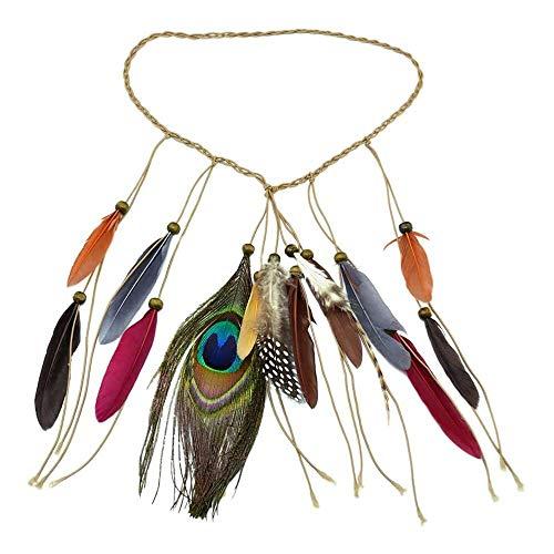 YuKeShop Boho - Diadema con borla de plumas para mujer, estilo hippie, estilo tribal