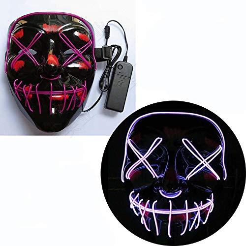 YiYuDe Masken Paintball-Schutzmasken Led Schlitz Mund Gabel Auge Horror Beängstigend Tod Abdeckung Gesicht Leuchten, Sprachsteuerung Orange