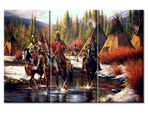 Native American Warriors Horses Wall Art Indian Encampment in Winter Poster Home Decor 3 Pieces Rustic Wall Decor Artwork for Home Walls Stretched and Framed Ready to Hang (14x28 inch x3)