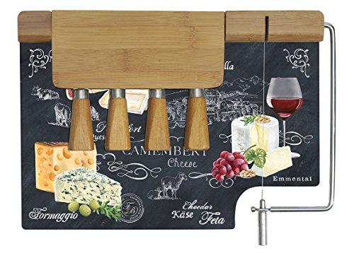 EASY LIFE 810WOCH Coffret Plateau à Fromage, Verre, Noir, 31,5 x 20 x 15 cm
