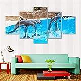 DJxqJ 5 Impresiones de Lienzo Pintura Impresión Poster Wall HD Art Framework Modular Sea Canvas Pictures 5 Piezas/Set Delfines para Vivir Niños Habitación Decorativa