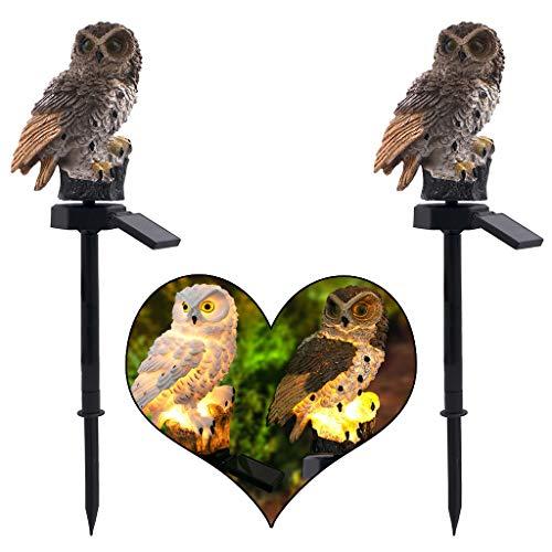 2 Stück Solar 3D Eulen Landschaft Lichter - LED-Gartenlichter Solar Nachtlichter Owl Shape Solar-Powered Rasenlampe, Bis zu 8 Stunden Leuchtdauer Amhomely® (2PC-A)