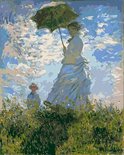 Schilderen op nummer, doe-het-zelf digitaal olieverfschilderij schoonheid vrouw met paraplu schilderset voor kinderen en volwassenen schilderij schilderij kunst 40 x 50 cm