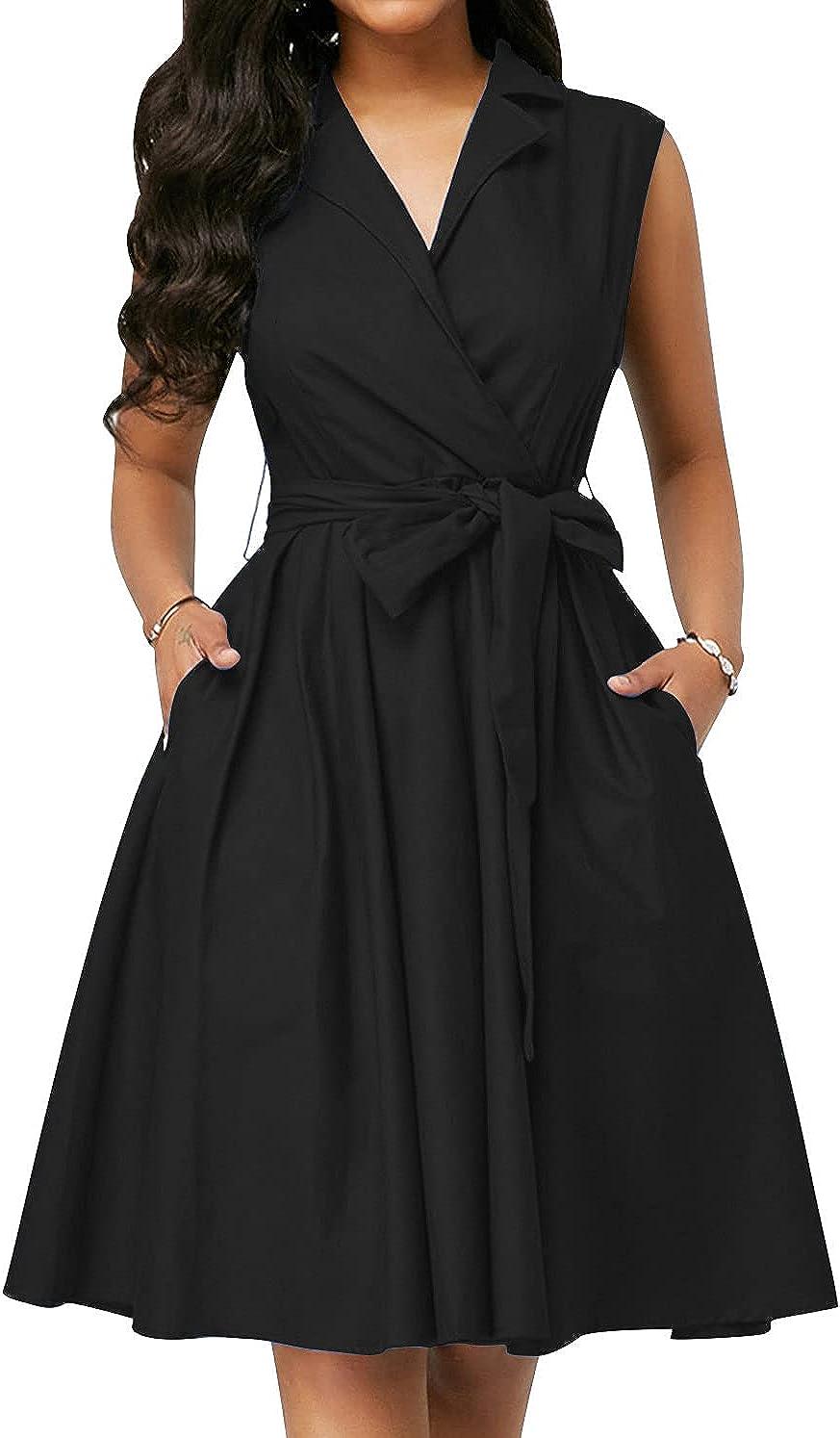 LunaJany Women's Casual Sleeveless Shirt Wrap Dress with Pockets