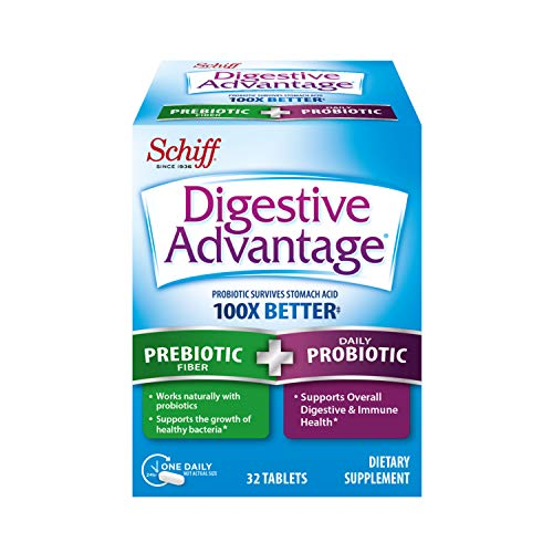 Daily Prebiotic Fiber + Probiotic Capsule - Digestive Advantage 32 Capsules, Survives 100x Better than regular 50 billion CFU, Lessens Bloating, Promotes Digestive Health and Gut Flora