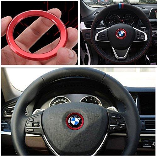 BMW 高品質 ハンドル ロゴ メッキ リング カバー ステアリング ハンドル カスタム アルミ センター リング ホイール シール ステッカー パーツF10 F20 F30 X3 X4 X5 ブルー K001-14