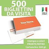 500 BIGLIETTI DA VISITA Bigliettini STAMPA FRONTE RETRO a...