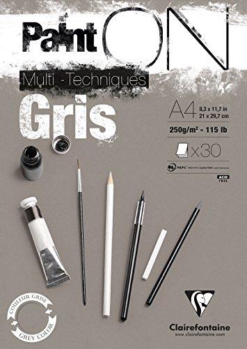 Clairefontaine 975809C PaintOn Block (250 g, DIN A4, 21 x 29,7 cm, geleimt, 30 Blätter, ideal für weiße Zeichnungen und Multitechniken) grau