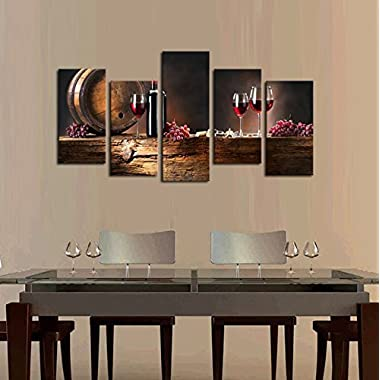 Cao Gen Decor Art-PSRP12827 panels Wall Art Fruit Grape Red Wine Glass Painting on Canvas Stretched and Framed Canvas Paintings Ready to Hang for Home Decorations Wall Decor