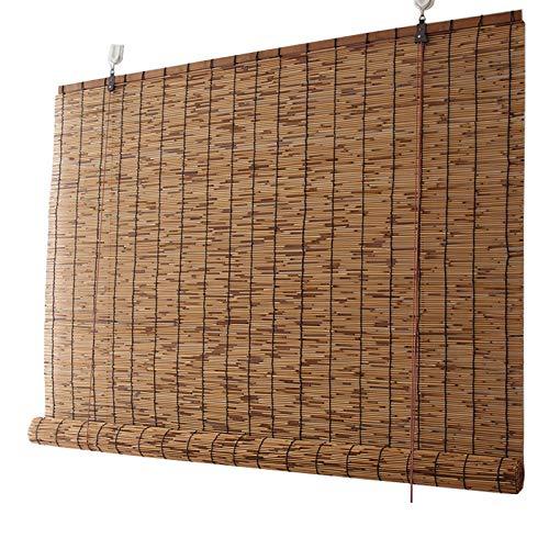 L-KCBTY Persiana Estor Enrollable de bambú Natural, Hecho A Mano Persianas De Caña, Montaje Sin Perforación, Personalizable, Persianas De Bambu para Decoración Interior/Exterior