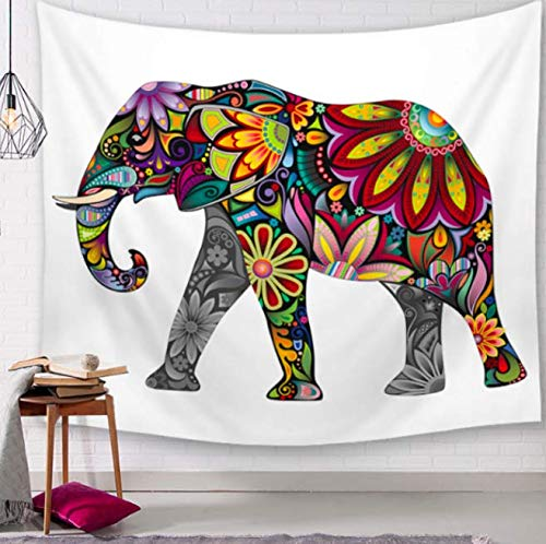 Thai Elephant Decorative Tapestry Bathroom Tapestry Outdoor Wall Hanging Picnic Leaves Home Decor Fabric Tablecloth Gift 150 x 130 cm