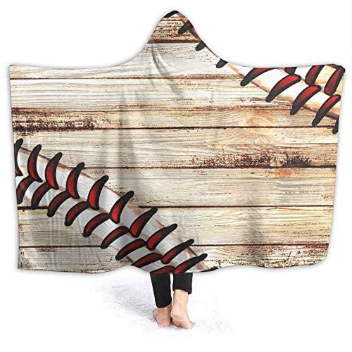 Tvox8x Manta de madera estilo béisbol, estilo retro, con...