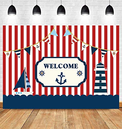 Fanghui 7x5ft Nautical Theme Party Photography Backdrop Red White Striped Marine Voyage Boat Background Decoration Kids Boy Birthday Party Navigation Lighthouse Banner Supplies Photobooth Props Decor