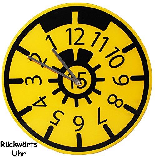 alles-meine.de GmbH Wanduhr - Uhr aus Glas -  TÜV Plakette  - 30,5 cm groß - sehr leise ! - rückwärts laufend - Werkstattuhr - für Kinderzimmer & Wohnzimmer - Rückwärtsuhr - Au..