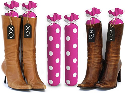 My Boot Trees, Boot Shaper Stands for Closet Organization. Many Patterns to Choose from. 1 Pair. (Hot Pink with Large White Polka Dots)