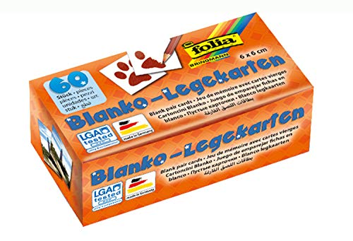 folia 2311 - Memory - Karten, Blanko-Legekarten, ca. 6 x 6 cm, 60 Stück, zum selbst Bemalen und Bekleben