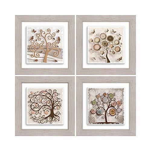 Lupia Quadro su Ceramica Set 4PZ Beige Tree 21x21 cm