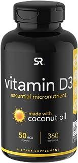 Vitamin D3 (2000iu/50mcg) Infused with Coconut Oil ~ Non-GMO & Gluten Free (360 Mini Liquid Softgels)