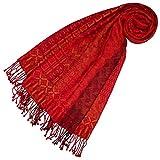 LORENZO CANA Damen Pashmina Schaltuch aus 90% Baumwolle mit 10% Wolle Stola Damenschal Naturfaser Schal Markenschal Fransen gewebt 70 cm
