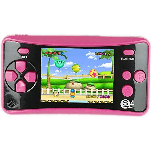 QINGSHE QS-4 - Console di gioco portatile, 2,5 pollici, TFT, schermo 182, stile retrò, classico, gioco Arcade TV, giochi video, regalo di compleanno per bambini, colore: Rosa