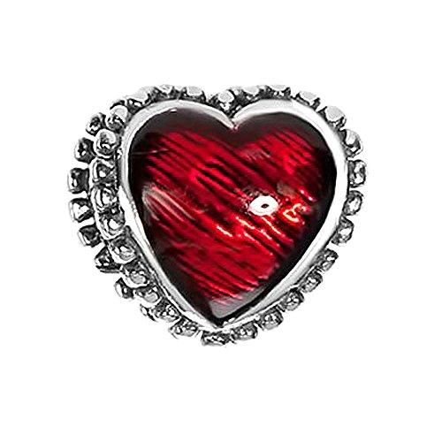 Materia joyería{925} cuentas de plata esmaltado corazón antiguo - plata cuentas en forma de corazón rojo esmaltado #1627