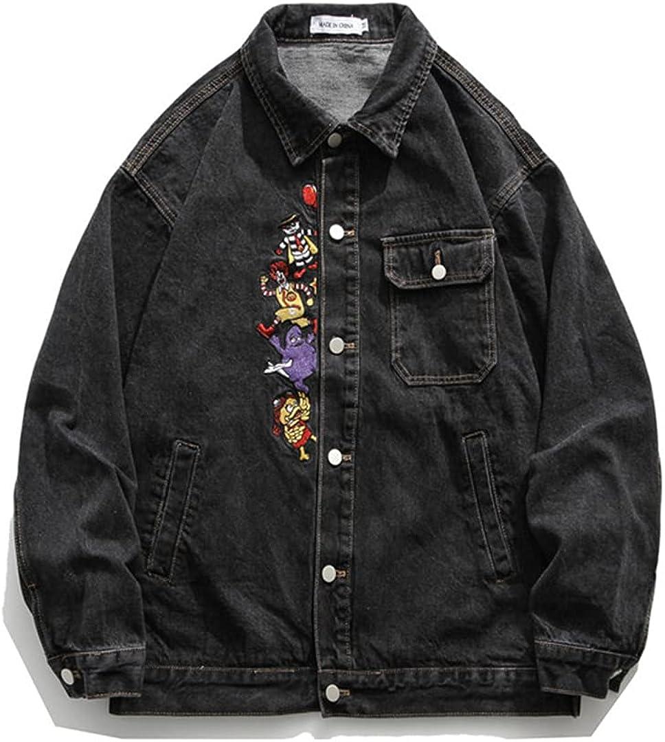Zippers Denim Jackets Streetwear Embroidery Print Sleeve Casual Punk Rock Jeans Jacket