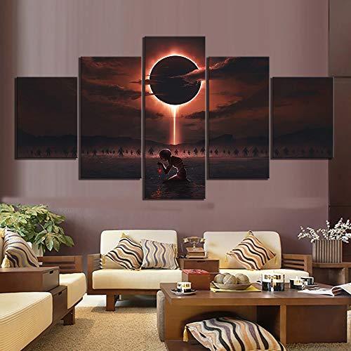 yiyitop Decoración de hogar de Lienzo Modular impresión Impresa 5 Paneles Eclipse Solar póster Arte de Pared Imagen Sala Arte de Pared Cartel de Lienzo HD