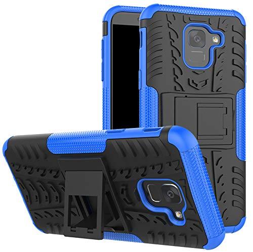 Yiakeng Funda Samsung Galaxy J6 Carcasa, Silicona a Prueba de Choques Soltar Protector con Kickstand Case para Samsung Galaxy J6 2018 (Azul)