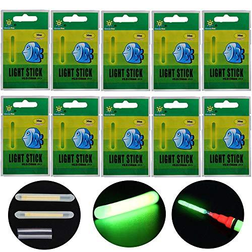 QualyQualy 10pcs 20pcs 50pcs Mucho Bulk Glow Sticks para flotadores de Pesca Bobbers Pesca Luminoso Luz Nocturna Stick Varita Tubos Verde Fluorescente iluminación Stick, 20 Pcs 6.0 * 50mm