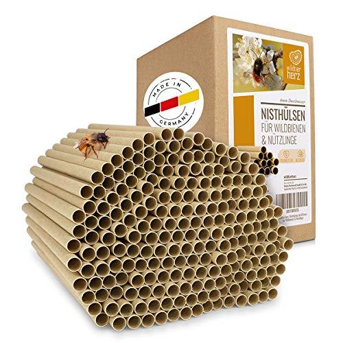 wildtier herz I 200 Bio Nisthülsen für Wildbienen 6 mm I inkl. E-Book von Biologen I aus Deutschland Öko Niströhren aus Gras u. Pappe I Insektenhotel Füllmaterial I Nisthilfe für Bienen