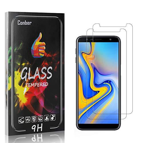 Conber [2 Pièces] Verre Trempé pour Samsung Galaxy J4 Plus/Galaxy J6 Plus, Dureté 9H vitre de Protection, Film Protection Ecran pour Samsung Galaxy J4 Plus/Galaxy J6 Plus