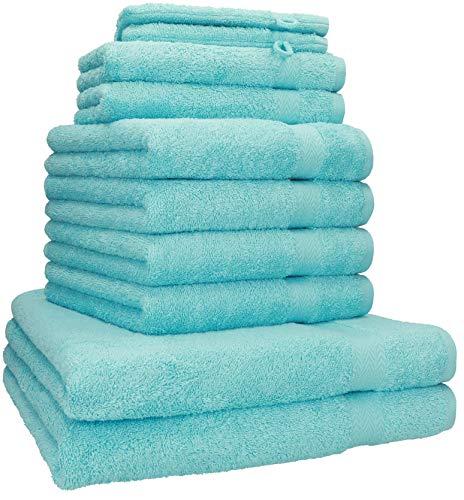 Betz 10-tlg. Handtuch-Set PREMIUM 100%Baumwolle 2 Duschtücher 4 Handtücher 2 Gästetücher 2 Waschhandschuhe Farbe türkis