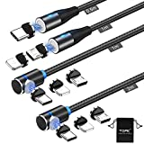 Magnetic Charging Cable (4Pack 0.5/1/1/2M) TOPK QC3.0 Fast Charging Data Transfer Cable 90°L-Shape Nylon Braided 3In1 Charger Cable with LED Light Compatible with Android/USB-C/iProduct Phone