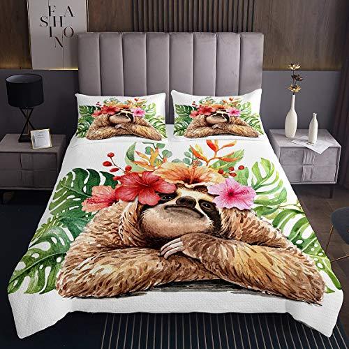 Kinder Karikatur Faultier Tagesdecke 240x260cm Mädchen Niedliches Tiermuster Steppdecke Grünes Palmblatt Bettüberwurf Für Kinder Hawaiian Tropisch Blumen
