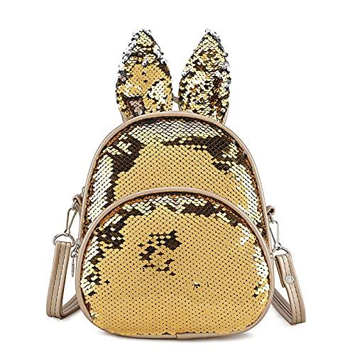 QINX Mochila con purpurina, para niños, niñas, jóvenes, conejos, orejas de conejo, lentejuelas, mochila escolar, mochila para adolescentes, guardería, bolsa de viaje, B