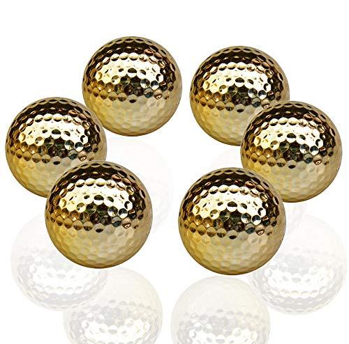 SUMTIX Goldene Golfbälle, Golfübungsbälle, Turniergolfball, Goldgeschenkter Golfball als Geschenk, 6 Packs