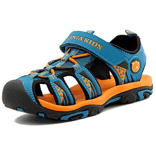 Sandalias Niño con Plantillas de Trekking Senderismo Zapatillas Niña de Zapatos Unisex Azul A 37 EU