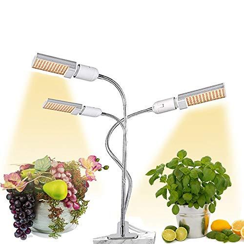 Vvovo Led-plantenlamp, plantengroeilamp, leds, 3/6/12u, timer-instelbaar, 5 modi, 3-kops, 360 graden zwanenhals-grow-lamp met verwisselbare lamp
