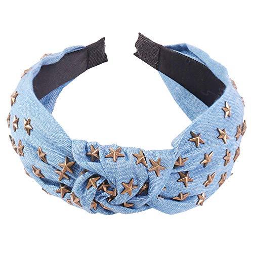 Denim Centre Knot Hairband métal étoile Emboutissage Accessoires cheveux Bandeau noueuse