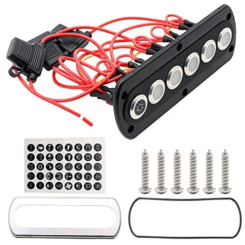 Notewisher Panel de Interruptor Basculante de 6 Bandas Panel de Interruptor LED de 12V RV para Interruptor de Palanca de Encendido/Apagado de Barco Marino con Color de Luz Azul