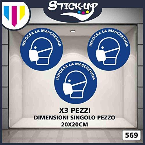 Stick-up Stickers Kit bollini Adesivi RIPOSIZIONABILI Mascherina Covid19-20x20 cm - Adesivo plastificato per Esterni e Interni.Etichette adesive