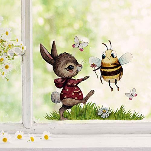 Fensterbilder Fensterbild Fuchs Reh & Hasen mit Pusteblume Osterkorb Ostern wiederverwendbar Fensterdeko bf24 - ausgewählte Farbe: *bunt* ausgewählte Größe: *8. Hase mit Hummel*