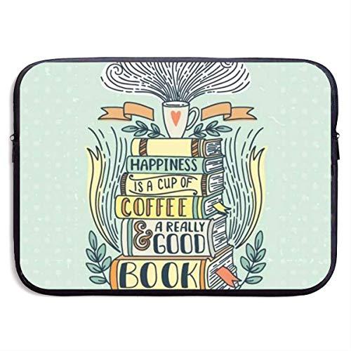 Laptop-Hülle Kaffee und Buch Clipart Notebook-Tasche Laptop-Umhängetasche Schutz 15 Zoll